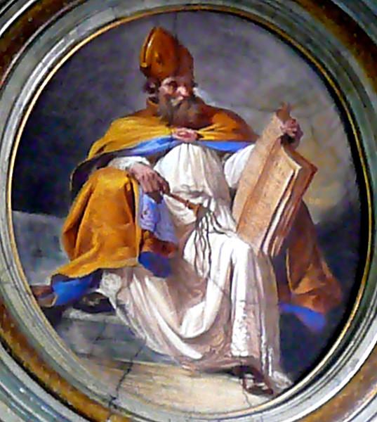 Autor Dickstracke,Wikipedia. Pictură de pe pereţii Bisericii  San Giuseppe alla Lungara, Roma, Italia.