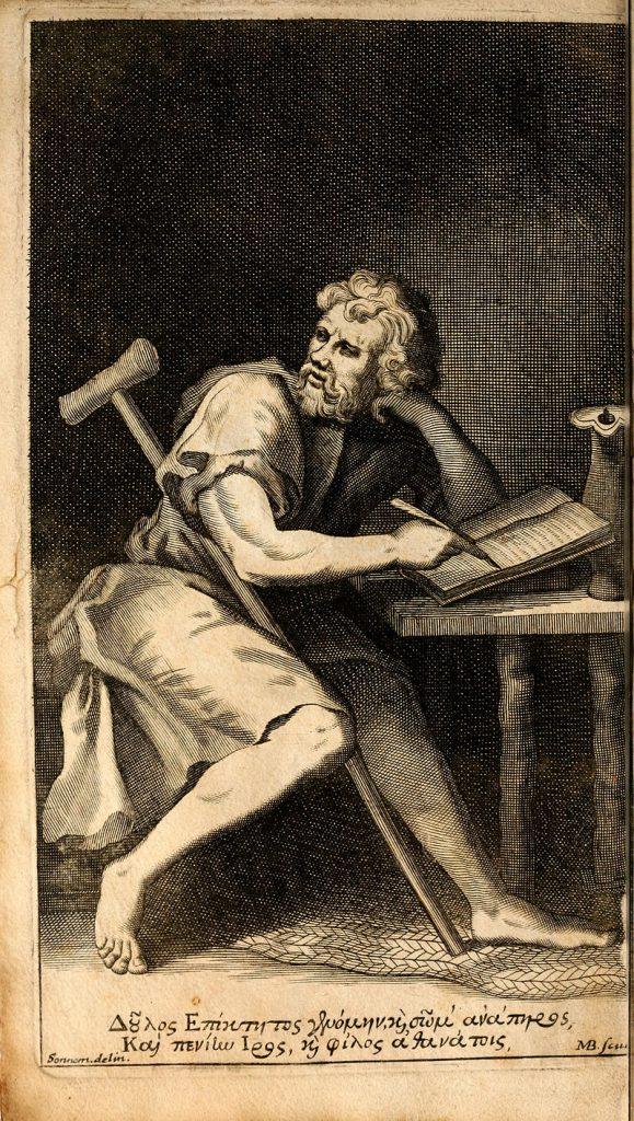 Portret imaginar al lui Epictet din AnthologiaPalatina, sursa Wikipedia.