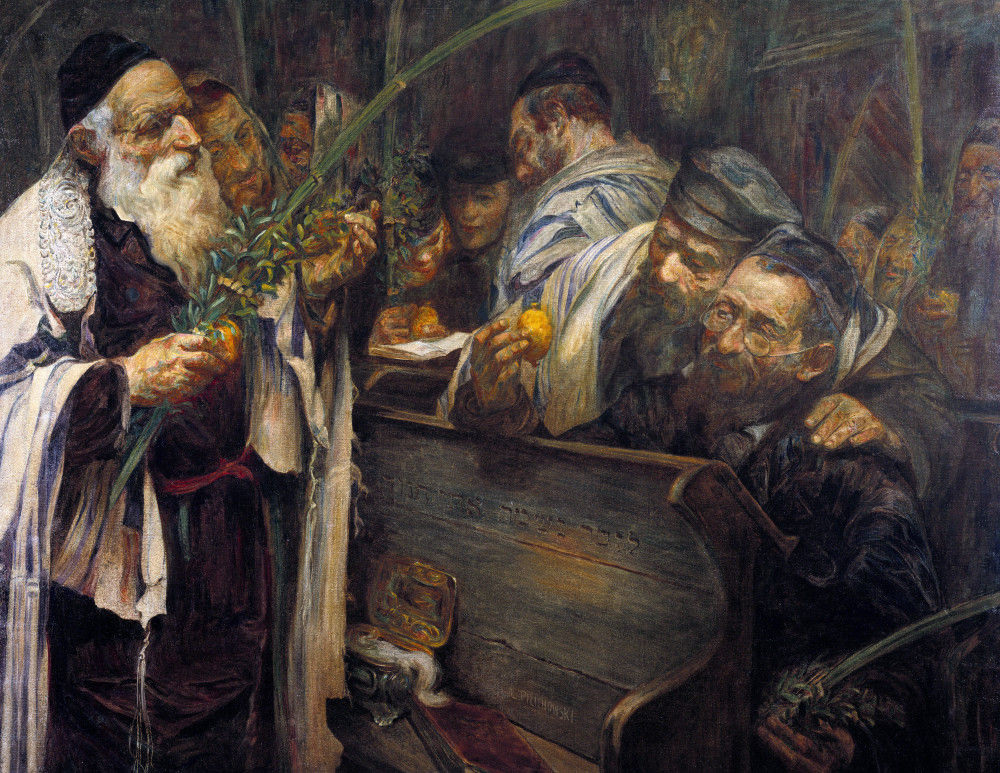 Sukkot In The Synagogue. Leopold Pilichowski (1869-1933). Oil On Canvas.