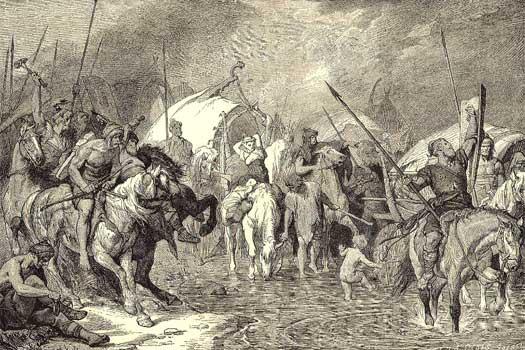 Năvălitorii teutoni venind din Danemarca invadează Galia romană.