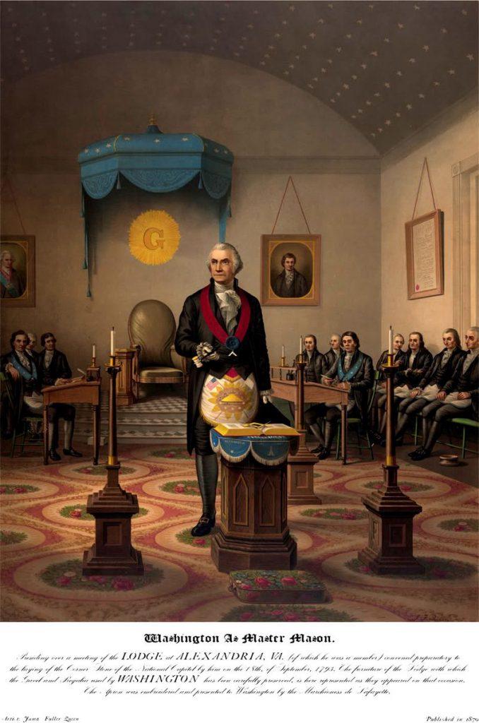 George Washington ca Maestru în timpul unei ţinute din templu. Sursă Wikipedia.