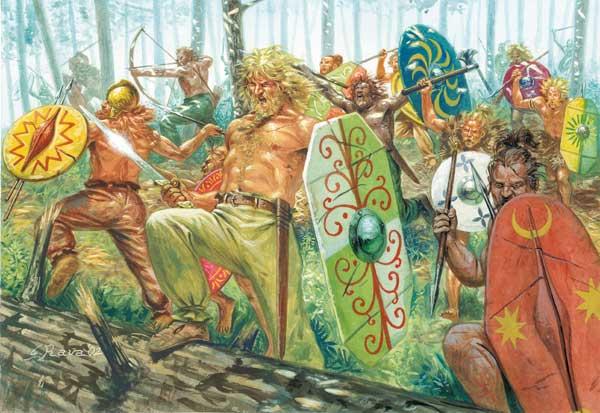 Luptători germanici din Liga suevă.