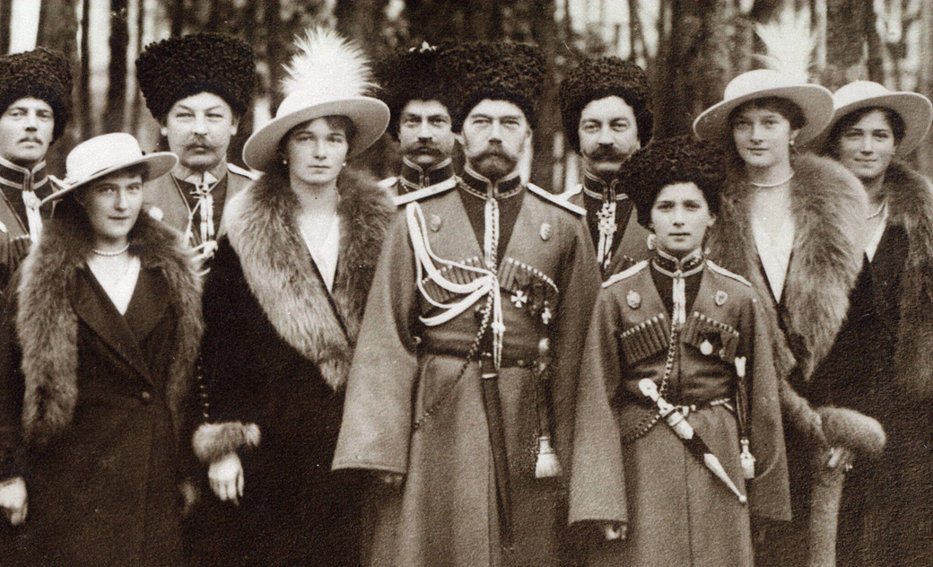 Nicholas_II_and_children_with_Cossacks_of_the_Guard,_cropped